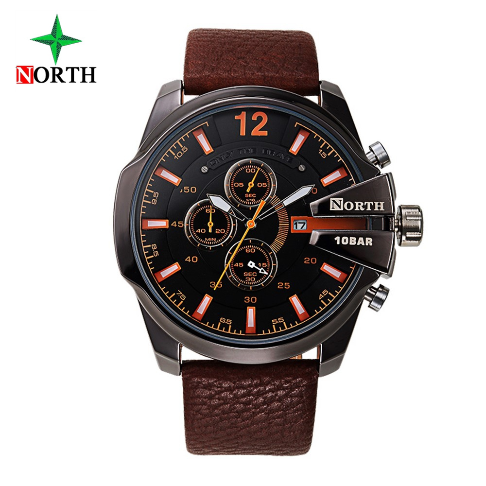 Fashion Men Casual Watches Unique Design Genuine Leather Strap Waterproof Man Sport Watch Brand North Military Clock Relojes 100% genuine disney fashion children watches for boys students captain america iron man leather watch strap luxury brand design