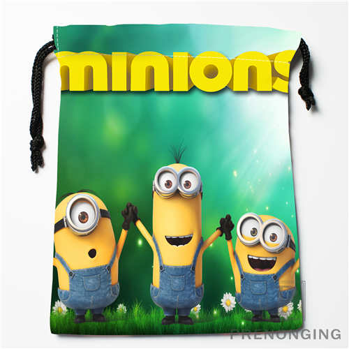 Custom Minion Drawstring Bags Printing Fashion Travel Storage Mini Pouch Swim Hiking Toy Bag Size 18x22cm