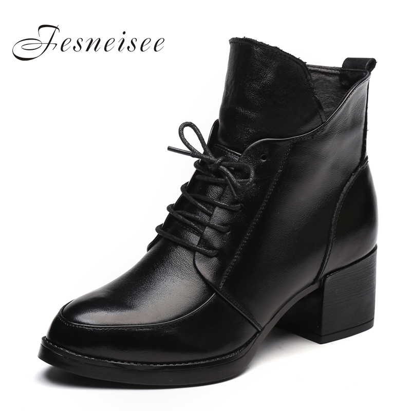 Genuine Leather  Martin Ankle Boots Square heels Lace up Womens Motorcycle Boots Autumn Shoes Women Winter Patent leather Botas5 free shipping autumn winter genuine leather men s work ankle boots martin boots british style western cowboy boots for men botas