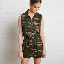 Camouflage Jumpsuit 2016 New Coming Military Style Sleeveless Jumpsuits Women Summer Style Above Knee Clothing Free Shipping