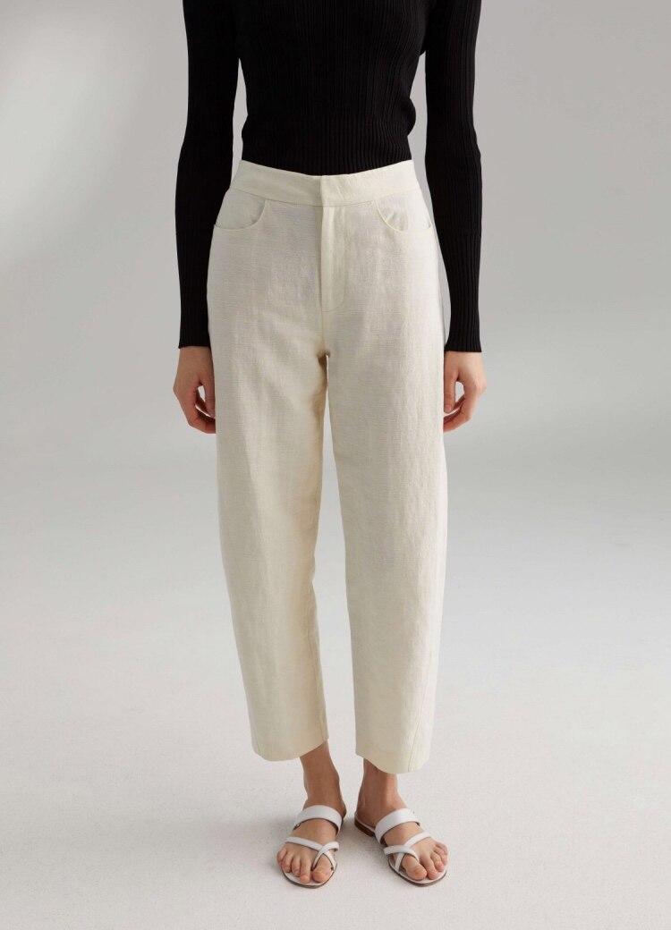 WISHBOP Novara linen trousers creme Black cotton linen cropped trouser twisted seam Woman Fashion Pants