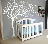 A045 Big Tree Wall stickers Nursery Tree and Birds Nature Wall Tattoo mural Art for Kids Room Living room Home Decor