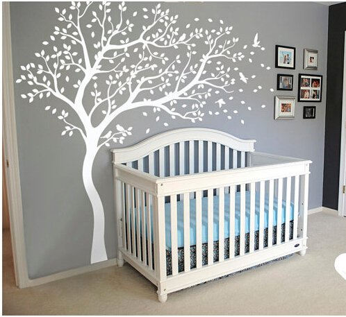 A045 grand arbre stickers muraux pépinière arbre et oiseaux Nature mur tatouage Art mural pour enfants chambre salon décor à la maison