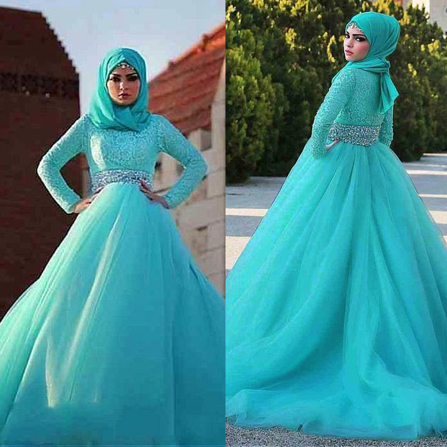 Gorgeous Tulle Natural Waisline Ball Gown Arabic Islamic Wedding Dresses With Rhinestones Belt Muslim Bridal Dress Blue