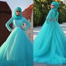 Prachtige Tule Natuurlijke Waisline Baljurk Arabische Islamitische Trouwjurken met Strass Riem Moslim Bruids Jurk Blauw