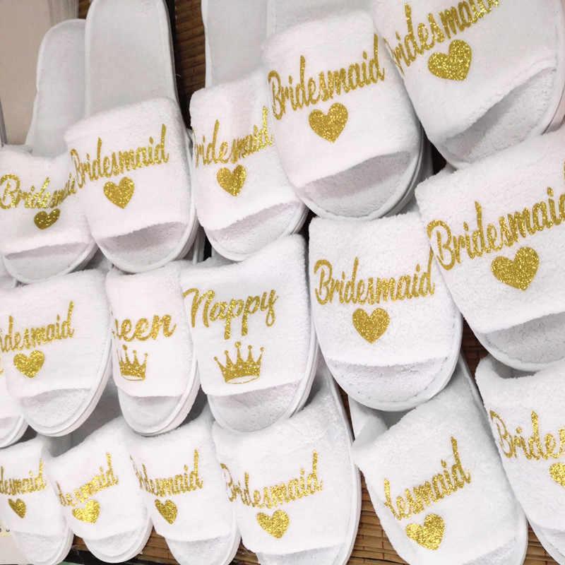 Sisbigdey Bruiloft bruid slippers bridal party slippers Open Tenen douche schoenen kwaliteit coral fleece bruidsmeisje slippers