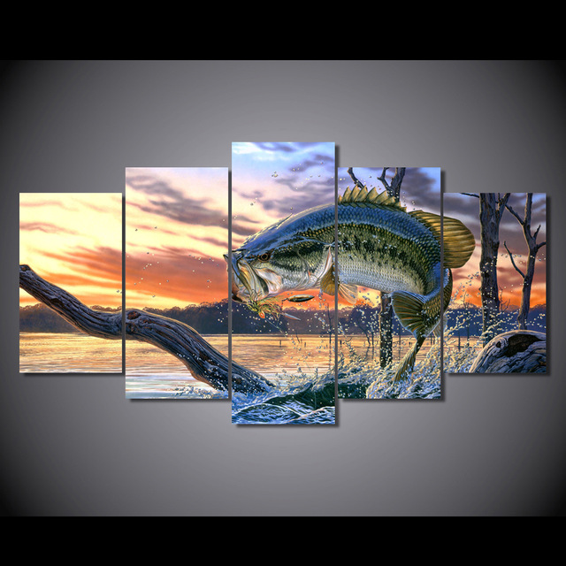 5 panel HD printed canvas painting jumping fishes canvas print art modern home decor wall art