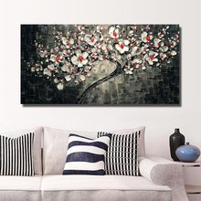 Hot sale morden 100% Handmade oil Painting plum flowers Pictures on the Wall art Decoration Abstract on Canvas for room no frame(China)
