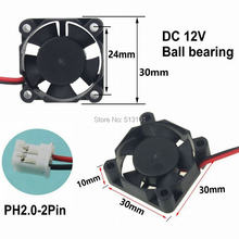 10Pcs Gdstime 3010 12V 2Pin 3CM 30mm 30x30x10mm Ball Bearing Mini Brushless DC Cooling Fan