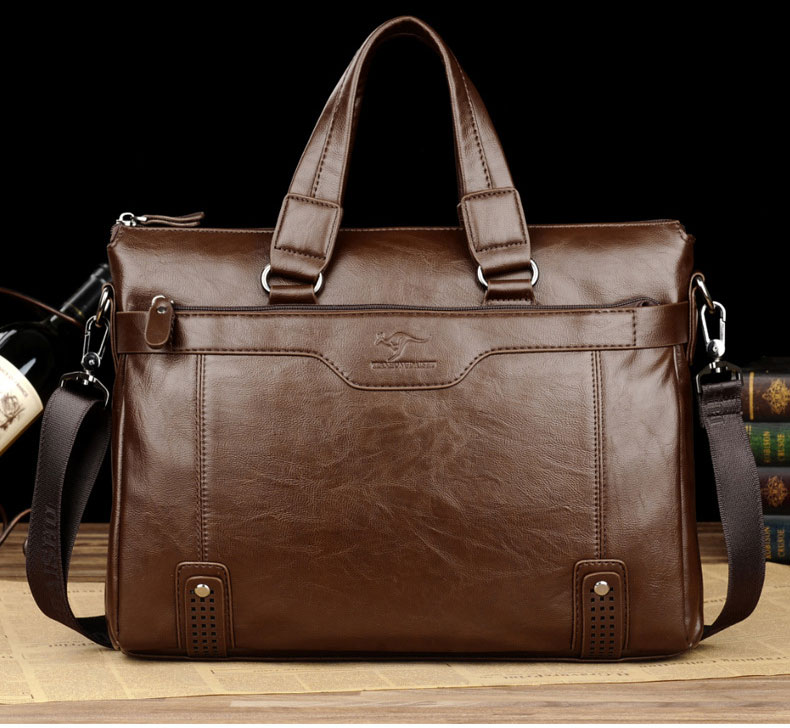 Classic Vintage Leather Men's Briefcases For Male Business Handbags Tote Causal Laptop Bags Messenger Bags Large Travel Bag