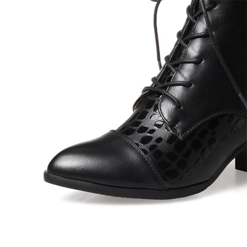 ENMAYER Fashion Winter Boots Square Heel Black White Shoes Ankle Boots Lace-up Women Shoes Autumn Boots Comfort Warm Shoes