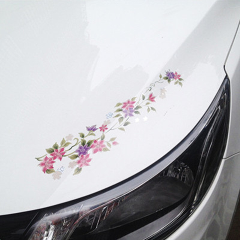 Fashion female car styling stickers flower vine 3d vinyl decals on auto engine cover lights brow decoration film accessories in decorative films from home