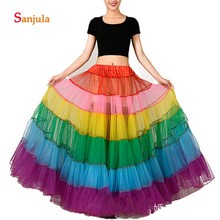 Real Long Underskirts Colorful Organza Petticoats Rainbow Crinoline Adult Women Jupon Dance Skirt Party Wedding Accessory P001