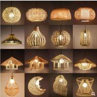 Chinese retro chandelier restaurant restaurant lighting bamboo braided lampshade straw hat