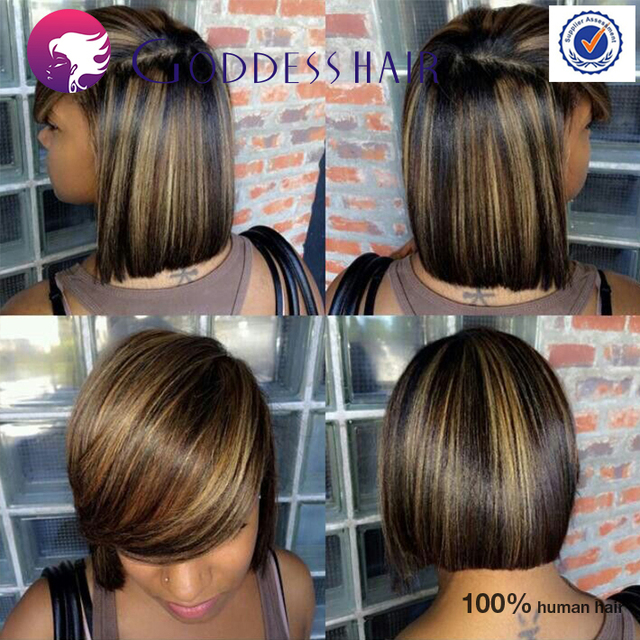 Hot Sale Short Bob Wig For Black Women Piano Highlights Hair Full