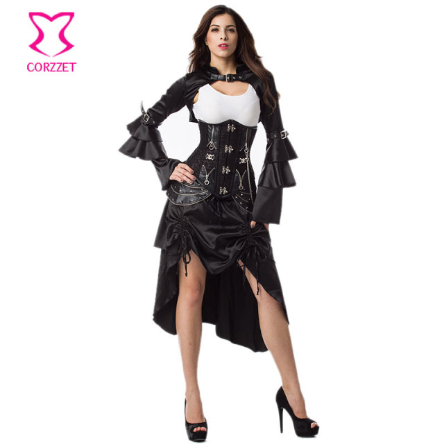 Black Gothic Underbust Sexy Corset Skirt Jacket Outfits