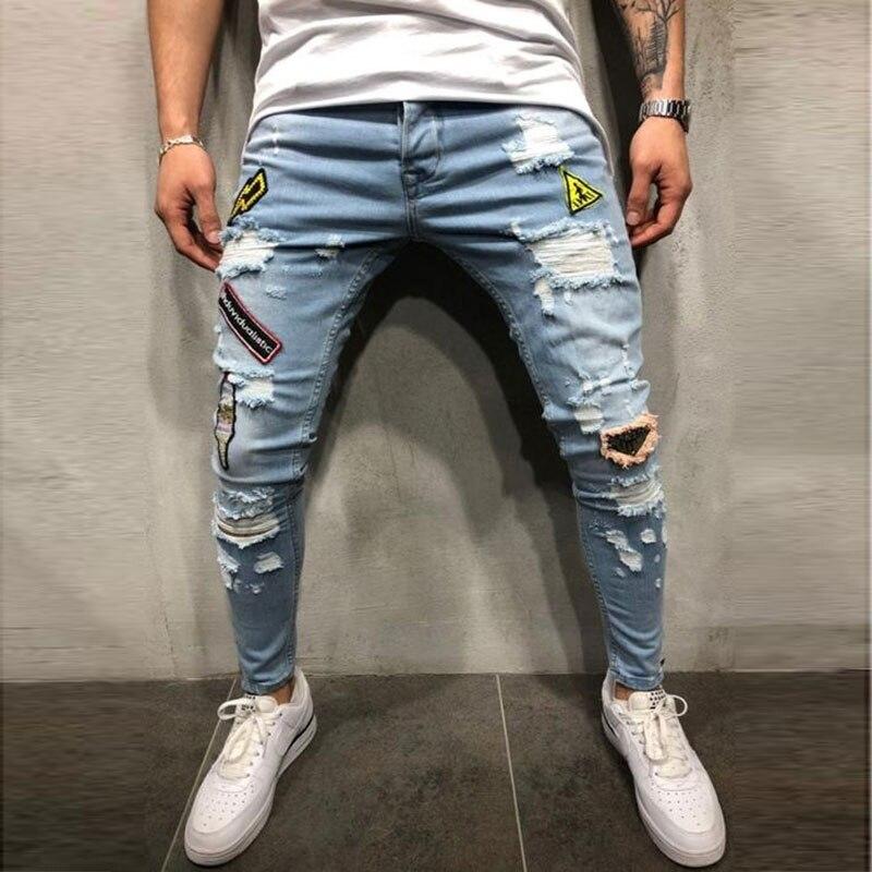 Streetwear Men's   Jeans   Vintage Blue Skinny Destroyed Ripped   Jeans   2018 Broken Punk Pants Homme Hip Hop   Jeans   Men Trousers 3XL