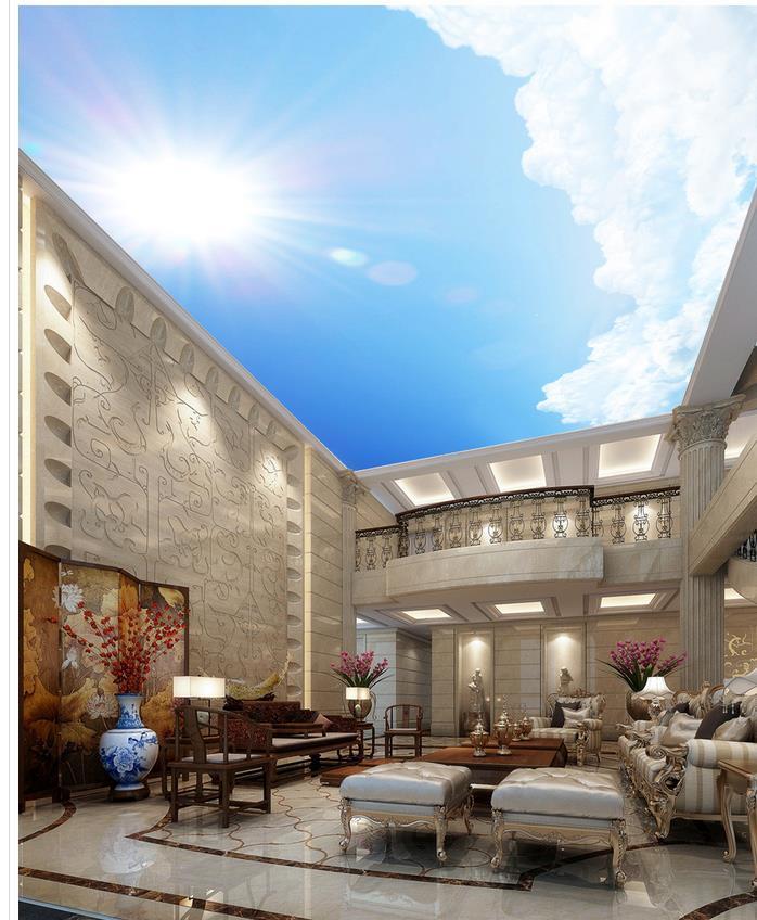 2a31f413cd07c غرفة المعيشة التلفزيون خلفية غرفة نوم 3d صور خلفيات مشمس السماء الزرقاء  المشهد خلفيات الجداريات السقف السقوف