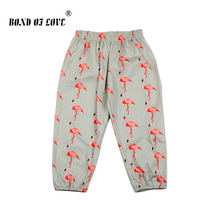 Children Boys Girls Pants Flamingo Printed Loose Newborn Baby Full Length Cotton Toddler Casual Clothing For Kids