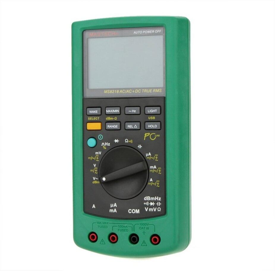Горячая MASTECH MS8218 Цифровой мультиметр 50000 отсчетов Многофункциональный Правда RMS ПК USB DMM 5 1/2 бит Авто Диапазон тестер амперметр