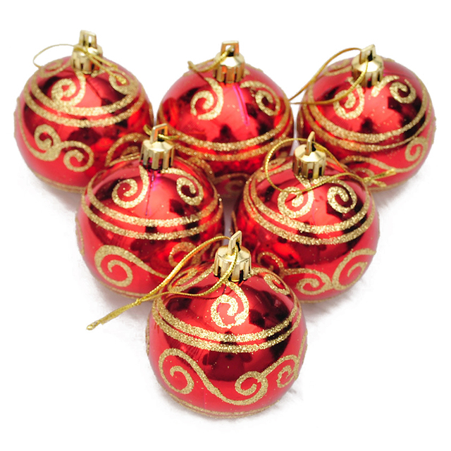 Ball Balls Decorations Magnificent 6Pcs Christmas Tree Balls Diameter 6Cm Gold Stamping Color Drawing Decorating Design