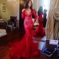 Elegant Red Saudi Arabia long sleeve 2016 NEW Mermaid Evening Gowns Sexy deep v neck Lace Appliques Prom Dresses vestidos