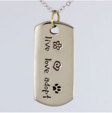 New cat Paw Print dog tag necklace hot sales Live Love Adopt dog tag Low Price custom Pet Rescue dog tag cheap cat tag Necklace