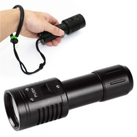 Waterproof LED Flashlight White Diving Scuba Video Photography Light Torch Dive Underwater Lamp For 18650/ 26650 Battery