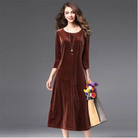 Women Spring Autumn Solid Velvet A line Dress Three Quarter Sleeves Vintage Elegant Ladies Dress Vestido Plus Size Dress M 7XL