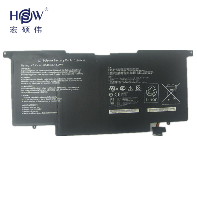 Original Battery 7.4V 6840MAH 50WH for Asus ZENBOOK UX31A UX31E C22-UX31 LAptop battery bateria akku