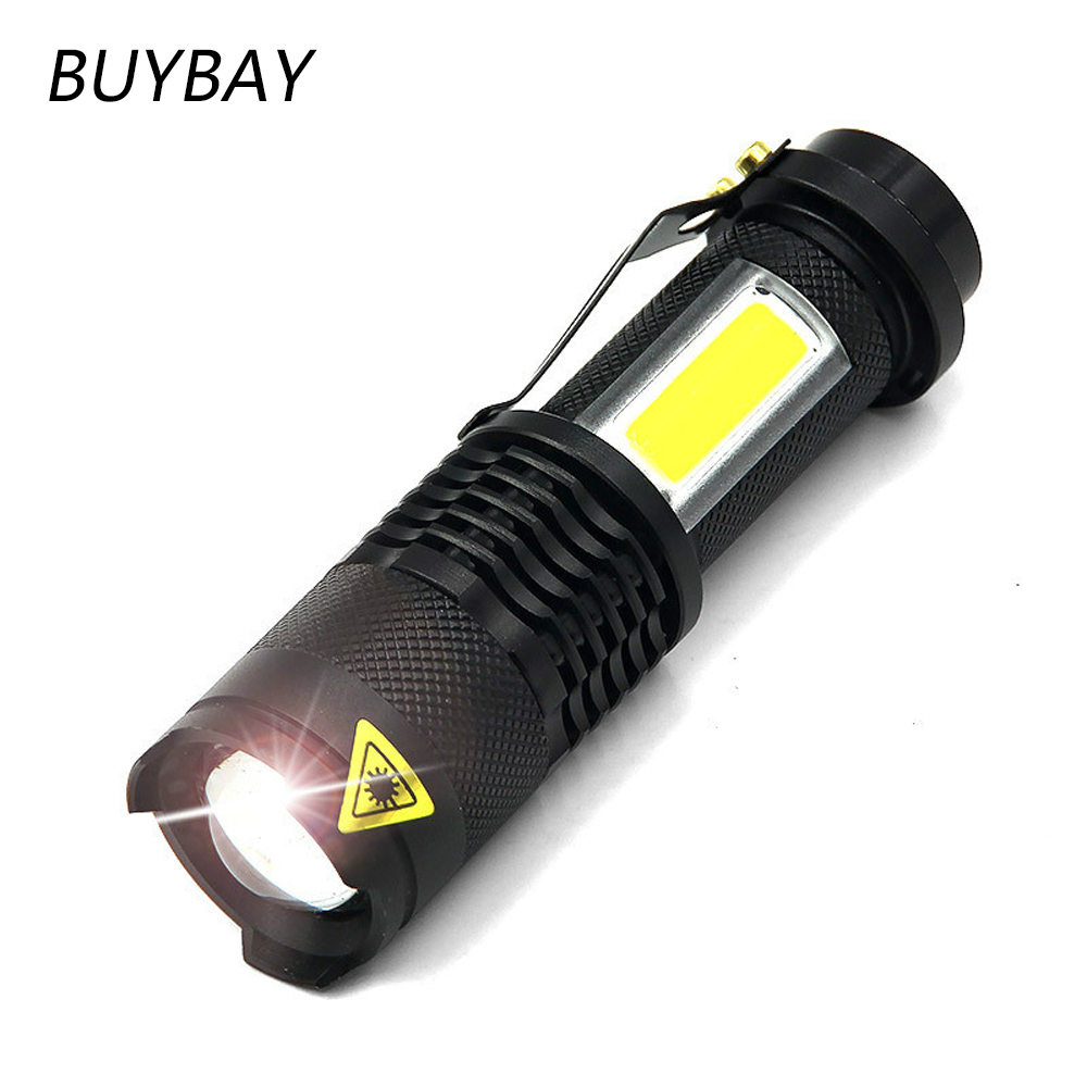 BUYBAY Ultra Bright Mini LED Flashlight Q5 Torch COB Tactical Flashlights 4 Modes 7W Shock Resistant Portable Lights for Camping