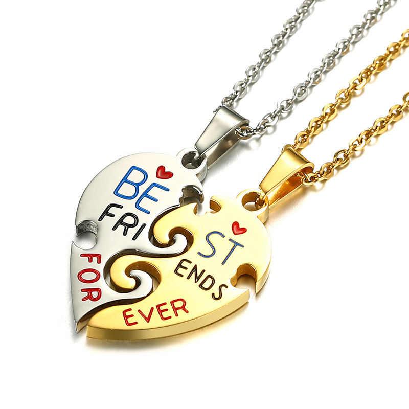 """Meaeguet Friendship Necklace Cho Phụ Nữ Thép Không Gỉ Màu Vàng Tốt Nhất Bạn Bè Món Quà Puzzle Tim Đồ Trang Sức Cho Nữ 20 """"Chuỗi"""