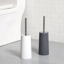 Европейский Черный и белый цвета для ванной из нержавеющей стали, держатель для туалетной щетки прямая ручка щетки полировальный туалет щетки
