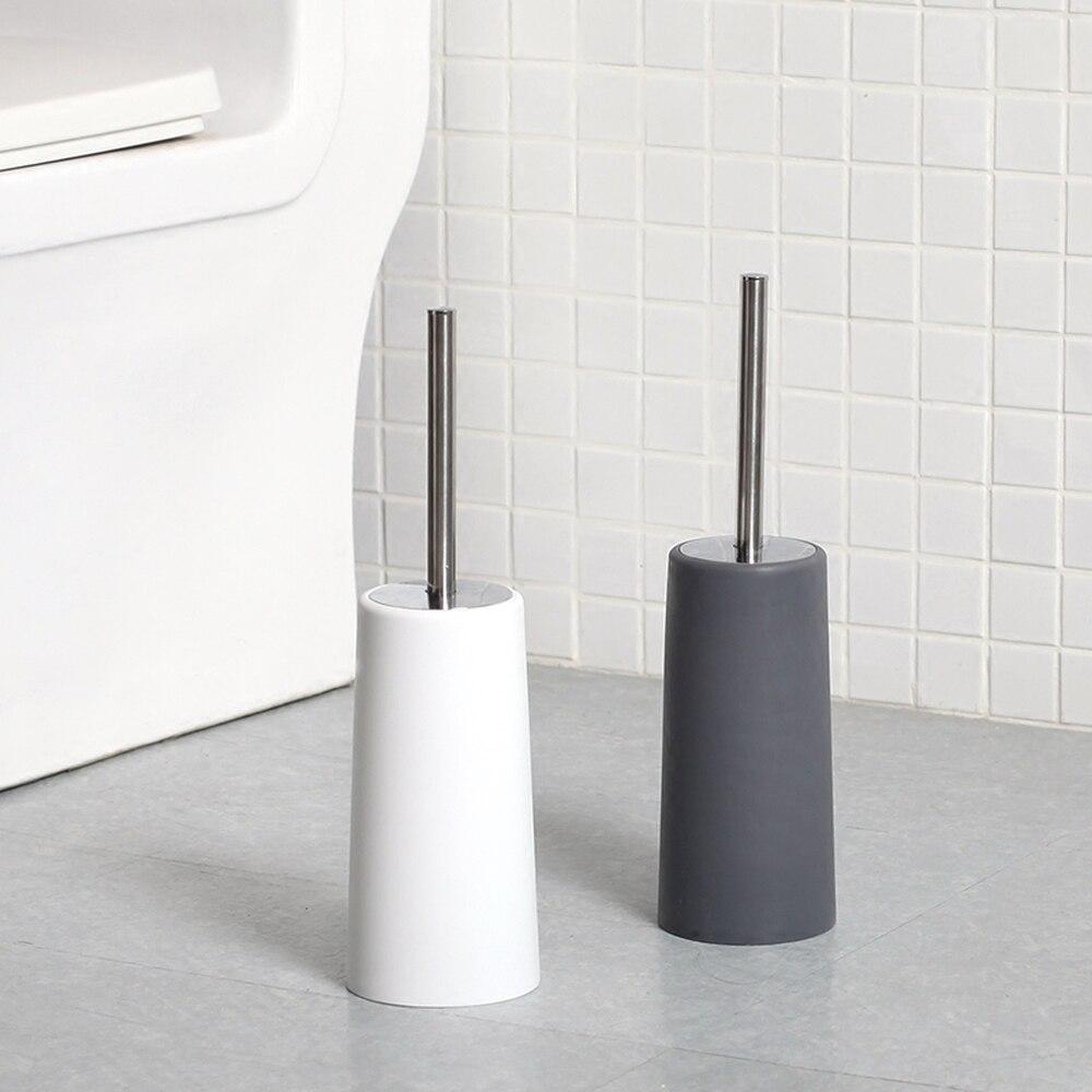 European Black And White Bathroom Stainless Steel Toilet Brush Holder Straight Handle Brush Corner Cleaning Toilet Brush Set