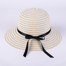 Hot Sale Round Top Wide Brim Straw Hats Summer Sun for Women With Leisure Beach Flat Stripe Bowknot Caps 2019