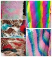 High Quality Colorful Rainbow Faux Fur Fabric For Garment Jacquard Faux Fox Fur Fabric Half Meter 0.5 Meter