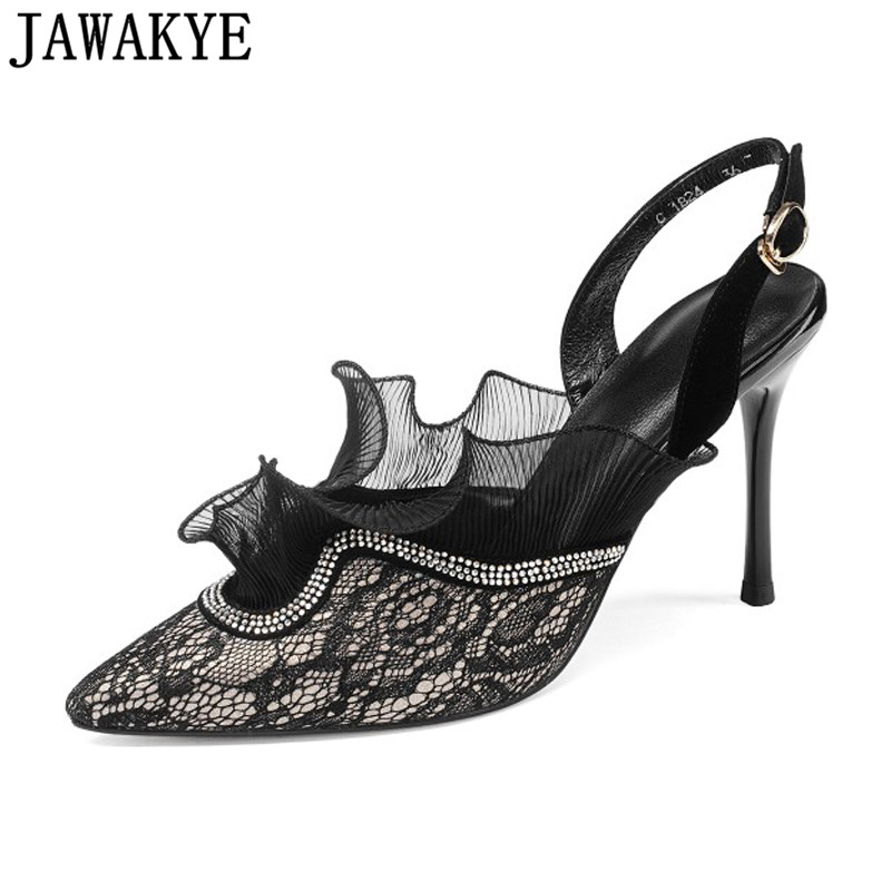 Runway Rhinestone lace ruffles flowers Women Pumps slingback pointed Toe sexy summer sandals 9cm high heels Wedding Shoes