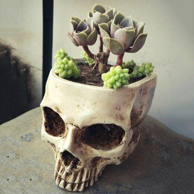 Human Skull Head Design Flower Pot Planter Container Craft Ornaments