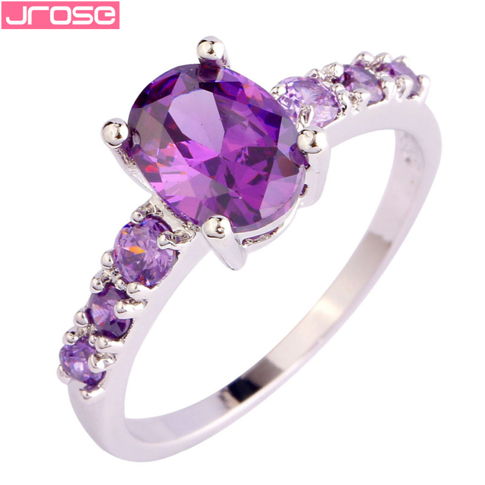 JROSE Hot Sale Women Fashion Pretty Lovely Purple CZ Silver Color Ring Size 6 7 8 9 10 11 12 13 Party Wedding Jewelry New