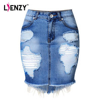 LIENZY Summer Vintage Front Women High Waist Pencil Ripped Denim Skirt Punk Rock Blue Bodycon Ladies
