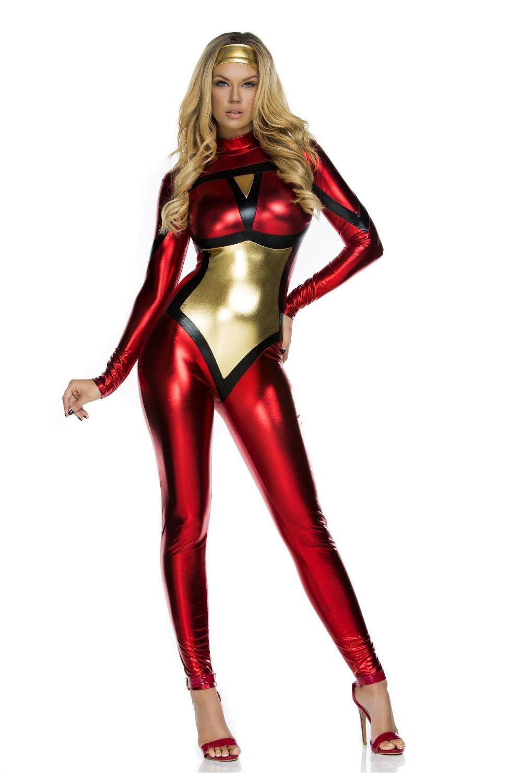 Buy Sexy Halloween Superhero Costume Red Fashion Christmas Costume Hero Latex Catsuit Vinyl Leather Super Hero Cosplay Clubwear