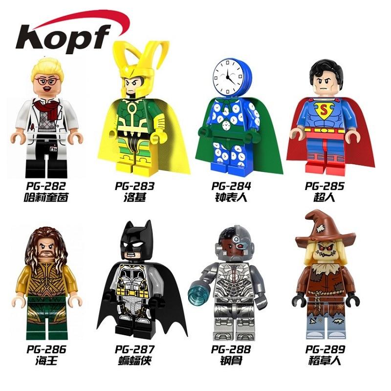 Super Heroes Watchman Loki Superman Aquaman Cyborg Scarecrow Harley Quinn Bricks Sst Model Building Blocks Kids Gift Toys PG8068