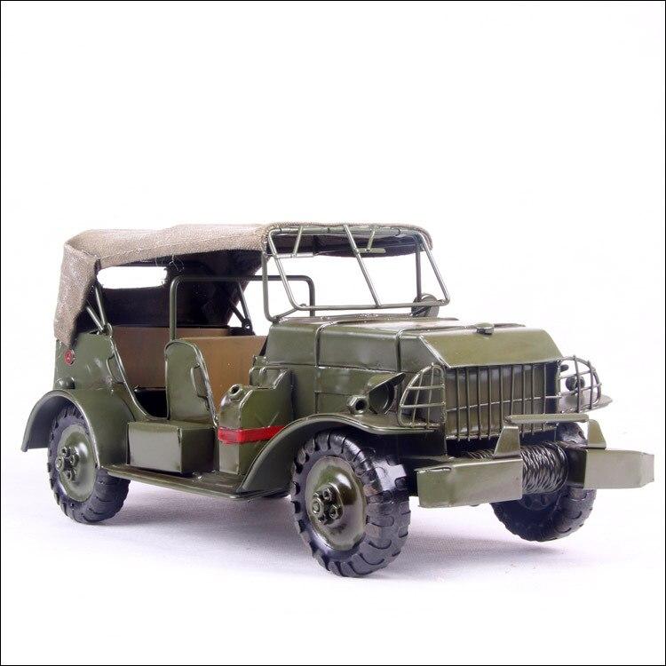 1 шт. 13 дюйма hand made металла зеленая Армия беговых Джип автомобиль для стола палубе.