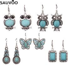 SAUVOO Nette Blaue Farbe Nutural Stein Tropfen Ohrringe Für Frauen Lange Schmetterling Eule Türkisen Verkrustete Charme Anhänger Ohrringe Schmuck