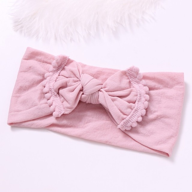 150pcs lot Soft Nylon Bow Headband with Pompom Trim Nylon Top Knot Bow Head  Wraps Big Bow Hair Band For Babys 8de8657a444