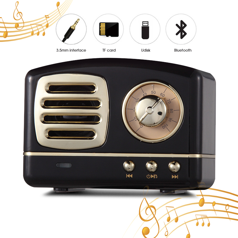 QINGRX Retro Mini Portable Wireless Bluetooth Speaker Radio USB/TF Card Music Player HIFI
