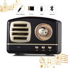лучшая цена QINGRX Retro Mini Portable Wireless Bluetooth Speaker Radio USB/TF Card Music Player HIFI Speaker
