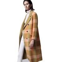 Зеленые клетчатые Двубортное пальто womanLong шерсть Винтаж дамы пальто Баян Мон Европейская мода Дизайнерская одежда 18A60186