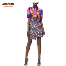 2018 african summer skirt set for women AFRIPRIDE short sleeve single breasted top+ mini casual cotton A1826013