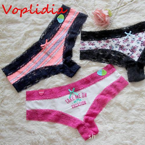 Voplidia underwear mujeres hipster briefs lencería sexy bragas de color rosa femenino braga de encaje transparente de impresión dulces mujeres boyshorts pm503